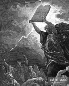 Moses breaking the tablets