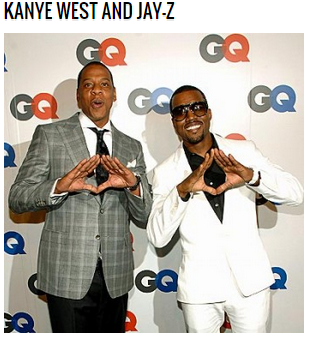 Kanye and Jay-Z flashing an Illuminati sign.