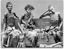 Victims of the Great Famine of 1876–78 in India during British rule, pictured in 1877.  https://upload.wikimedia.org/wikipedia/commons/thumb/d/d8/India-famine-family-crop-420.jpg/220px-India-famine-family-crop-420.jpg